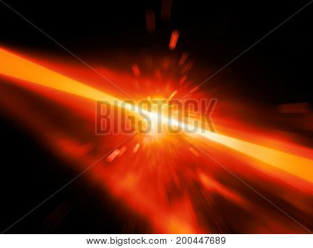 Red glowing laser beams hitting the target explosion computer generated abstract background 3D rendering