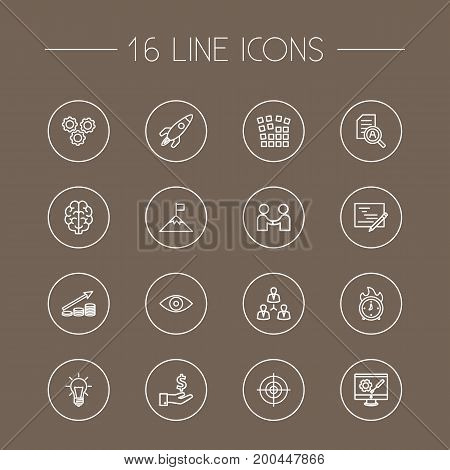 Collection Of Success, Target, Profit And Other Elements.  Set Of 16 Startup Outline Icons Set.