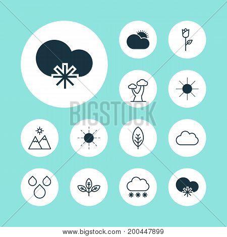 Ecology Icons Set. Collection Of Sprout, Cloud, Landscape Elements