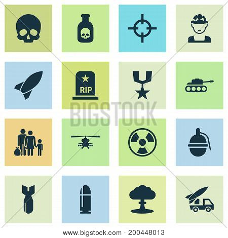 Battle Icons Set. Collection Of Chopper, Atom, Danger And Other Elements