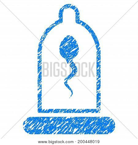 Grunge Sperm In Condom icon with grunge design and dust texture. Unclean vector blue pictogram for rubber seal stamp imitations and watermarks. Draft sign symbol.