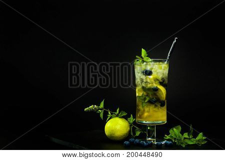 Blueberry Mojito On The Black Background