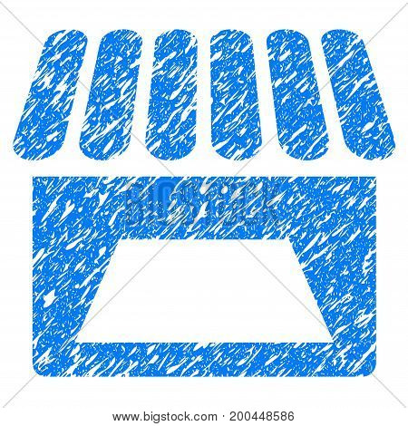 Grunge Store icon with grunge design and unclean texture. Unclean vector blue pictogram for rubber seal stamp imitations and watermarks. Draft sign symbol.