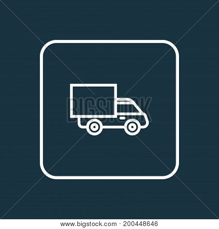 Premium Quality Isolated Lorry Element In Trendy Style.  Truck Outline Symbol.