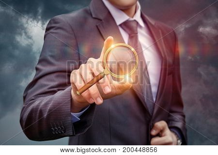 Businessman Clicks On The Search Button.