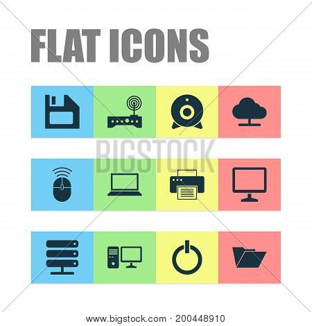 Digital Icons Set. Collection Of Tree, Power On, Router And Other Elements