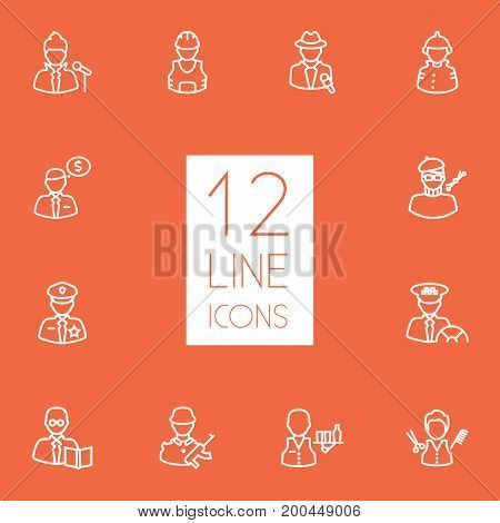 Collection Of Servant, Singer, Policeman And Other Elements.  Set Of 12 Professions Outline Icons Set.