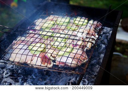 Meat And Fresh Vegetables On A Metal Grate To Cook On Coals. Cookout Concept.