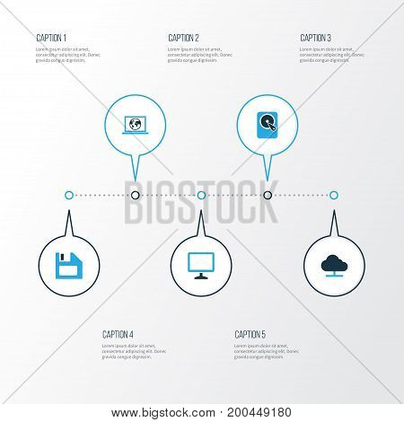 Hardware Colorful Icons Set. Collection Of Connection, Storage, Display And Other Elements