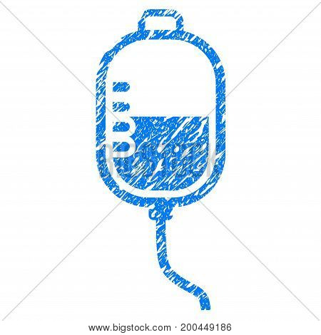 Grunge Therapy Dropper icon with grunge design and unclean texture. Unclean vector blue pictogram for rubber seal stamp imitations and watermarks. Draft emblem symbol.