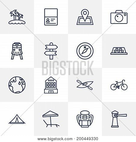 Collection Of Parasol, Boat, Compass And Other Elements.  Set Of 16 Travel Outline Icons Set.