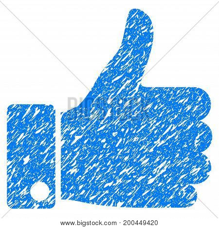 Grunge Thumb Up icon with grunge design and scratched texture. Unclean vector blue pictogram for rubber seal stamp imitations and watermarks. Draft emblem symbol.