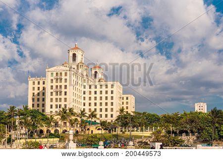 View of the Nacional de Cuba hotel Havana Cuba. Copy space for text