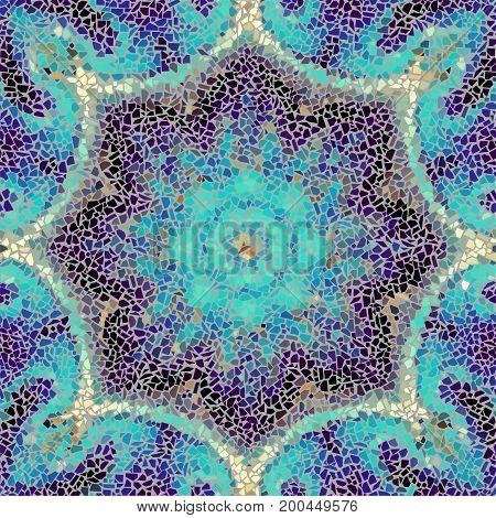 Seamless background pattern. Irregular decorative geometric mosaic art tile pattern from uneven broken pieces.