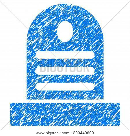 Grunge Tombstone icon with grunge design and dust texture. Unclean vector blue pictogram for rubber seal stamp imitations and watermarks. Draft emblem symbol.
