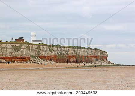 lighthouse on the cliffs of Old Hunstanton Beach