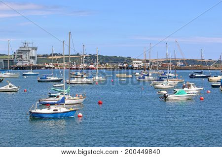 Boats on the River Fal in Falmouth, Cornwall