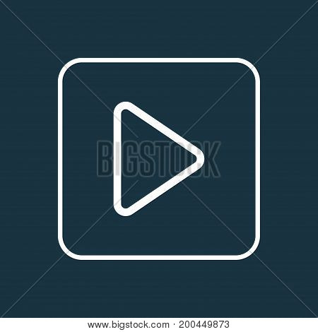 Premium Quality Isolated Begin Element In Trendy Style.  Play Outline Symbol.