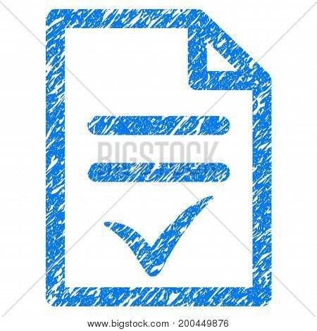 Grunge Valid Document icon with grunge design and dust texture. Unclean vector blue pictogram for rubber seal stamp imitations and watermarks. Draft sticker symbol.
