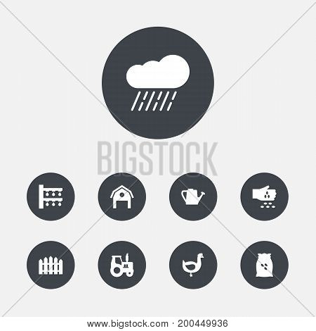 Collection Of Wooden Barrier, Water Sprinkler, Seed And Other Elements.  Set Of 9 Agriculture Icons Set.
