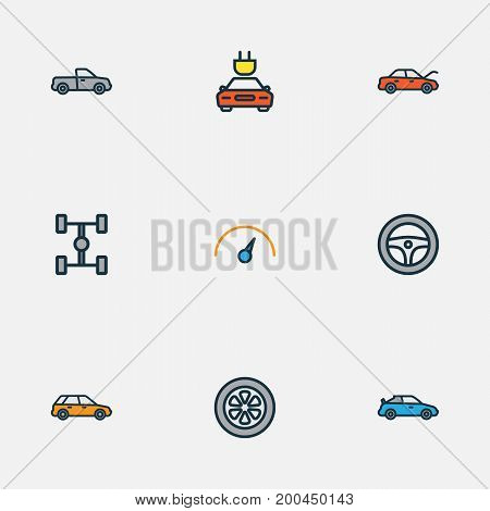 Auto Colorful Outline Icons Set. Collection Of Drive, Carcass, Machine And Other Elements