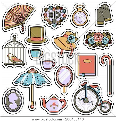 A collection of vintage victorian era stickers. Flat illustrations of personal accessories, everyday use items and innovations that symbolize 19th century culture.