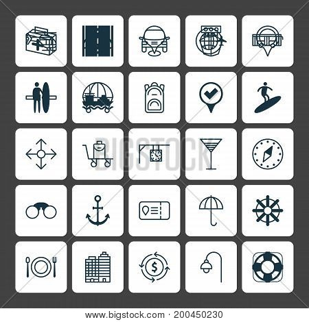 Travel Icons Set. Collection Of Marker, Ship Hook, Sea Rescue And Other Elements