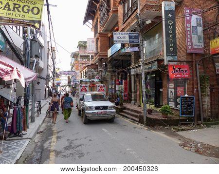 Kathmandu, Nepal, september 4, 2015: Rush in streets of Thamel, the tourist place in Kathmandu