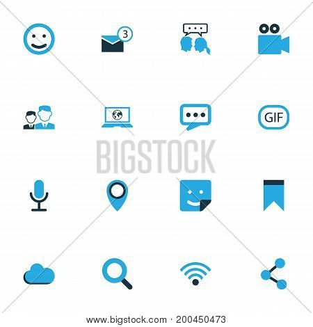 Internet Colorful Icons Set. Collection Of Bookmark, Video Conversation, Smile And Other Elements