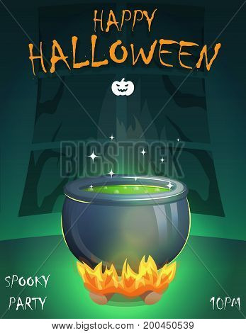 Halloween festive poster card, party invitation template, spooky night room, boiling witch cauldron on fireplace with magic brew potion.