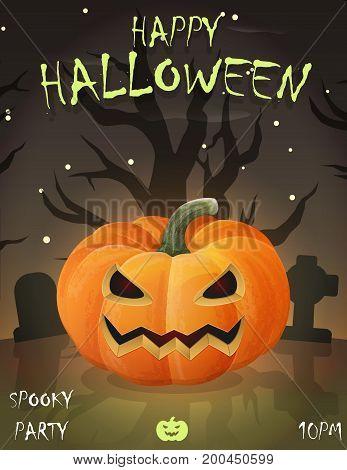Halloween festive poster card, party invitation template, spooky night landscape, cemetery graveyard, festive pumpking jack-o-lantern.