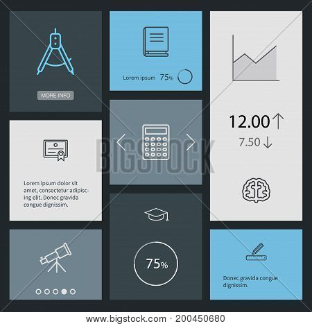 Collection Of Compass, Calculator, Encyclopedia And Other Elements.  Set Of 8 Science Outline Icons Set.