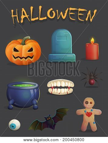 A collection of spooky halloween event decoration items and design elements for game and app design. Gravestone, jack-o-lantern, voodoo doll with needles, vampire bat and other.