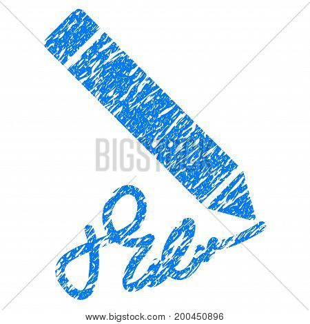 Grunge Writing Pencil icon with grunge design and scratched texture. Unclean vector blue pictogram for rubber seal stamp imitations and watermarks. Draft sticker symbol.