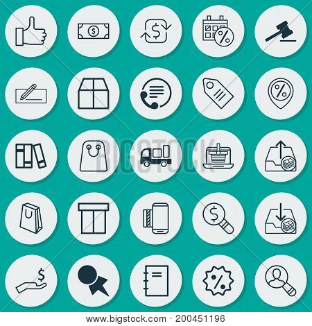Commerce Icons Set. Collection Of Mobile Service, Black Friday, Tote Bag And Other Elements