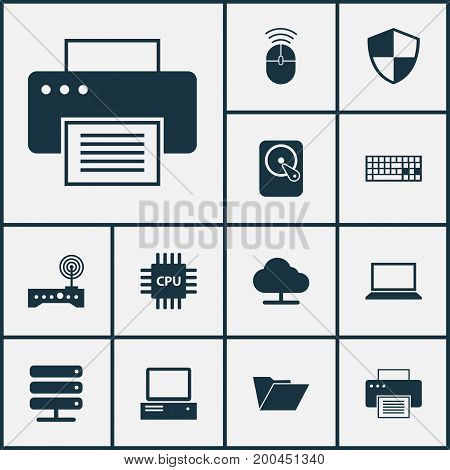 Device Icons Set. Collection Of Tree, Dossier, Keypad And Other Elements