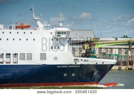 KLAIPEDA, LITHUANIA - JULY 29: DFDS SEAWAYS ship Victoria in Klaipeda harbor on July 29, 2017 Klaipeda, Lithuania. DFDS SEAWAYS is Northern Europe's largest shipping and logistics company.