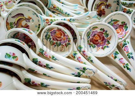 Close up image of beautiful earthenware ladles