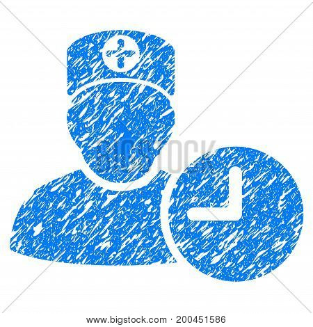 Grunge Doctor Schedule Clock icon with grunge design and dust texture. Unclean vector blue pictogram for rubber seal stamp imitations and watermarks. Draft sign symbol.