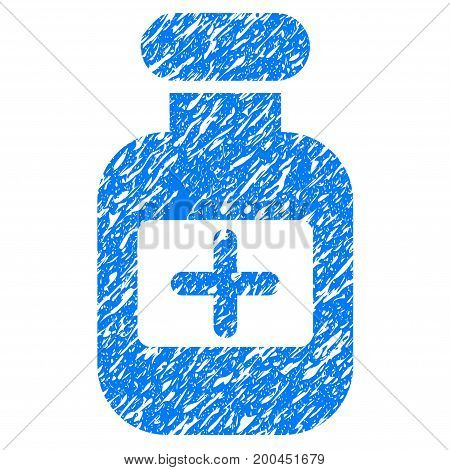 Grunge Drugs Bottle icon with grunge design and scratched texture. Unclean vector blue pictogram for rubber seal stamp imitations and watermarks. Draft sticker symbol.