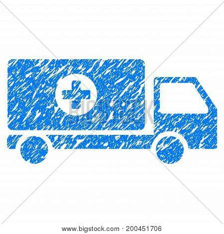 Grunge Drugs Shipment icon with grunge design and dirty texture. Unclean vector blue pictogram for rubber seal stamp imitations and watermarks. Draft sticker symbol.