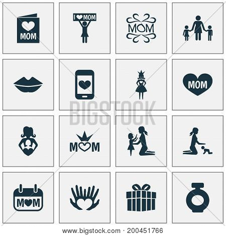 Mothers Day Icon Design Concept. Set Of 16 Such Elements As Gift, Placard And Cellphone