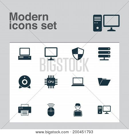 Device Icons Set. Collection Of Defense, Computer Mouse, Desktop And Other Elements
