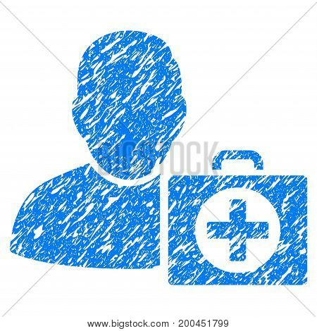 Grunge First Aid Man icon with grunge design and dust texture. Unclean vector blue pictogram for rubber seal stamp imitations and watermarks. Draft emblem symbol.