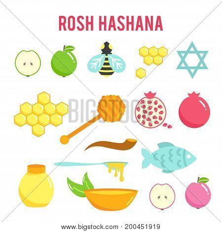 Rosh Hashanah flat icons set, Shana Tova, Jewish New year holiday. Vector illustration