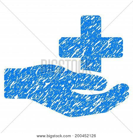 Grunge Health Care Donation icon with grunge design and dust texture. Unclean vector blue pictogram for rubber seal stamp imitations and watermarks. Draft sign symbol.