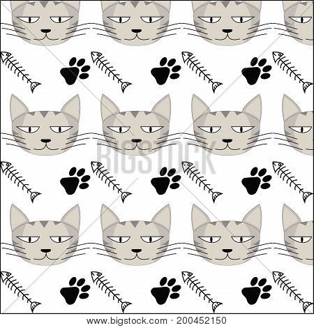 Pattern background of cat, fish bone and footprint on a white background.