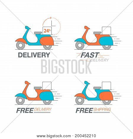Delivery Icon Set. Scooter Motorcycle Service, Order, 24 Hour, Fast And Free Worldwide Shipping.