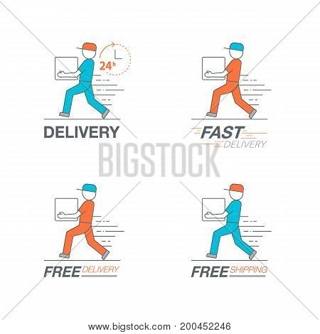 Delivery Icon Set. Delivery Man Service, Order, 24 Hour, Fast And Free Worldwide Shipping.