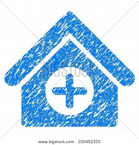 Grunge Hospital icon with grunge design and unclean texture. Unclean vector blue pictogram for rubber seal stamp imitations and watermarks. Draft sign symbol.